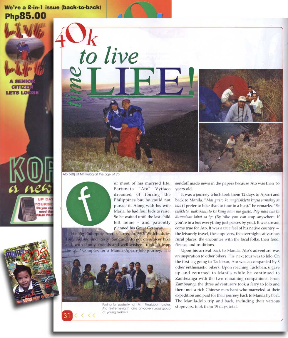 Tatay's Time to Live Life article in a local magazine