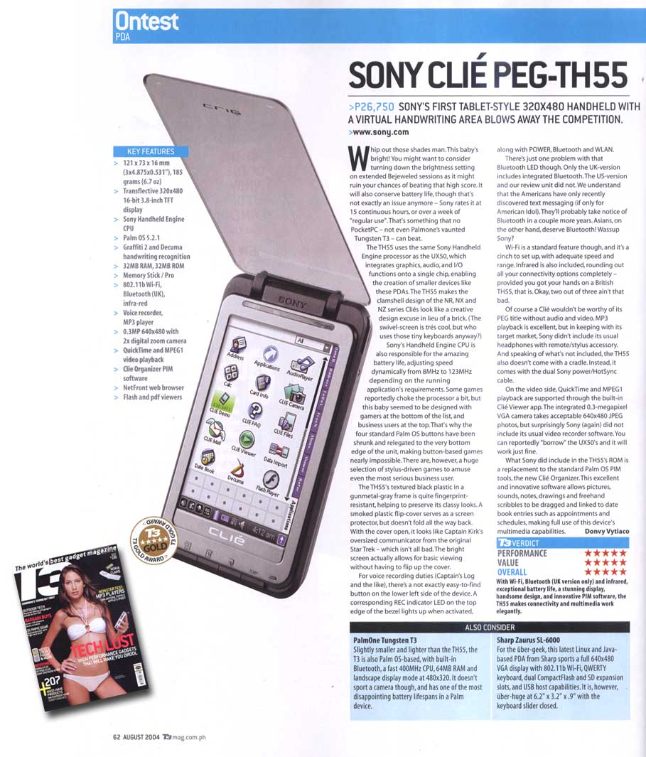 Sony Clie PEG-TH55 Review by donvy @ T3 Philippines